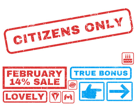 Citizens Only text rubber seal stamp watermark with Valentines sale bonus. Captions inside rectangular shape with grunge design and dust texture. Vector emblems for trading on a white background.