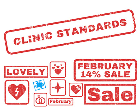 Clinic Standards text rubber seal stamp watermark with Valentines sale bonus. Captions inside rectangular shape with grunge design and dust texture. Vector stickers for trading on a white background.
