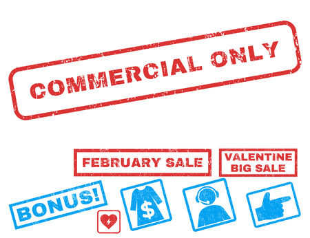 Commercial Only text rubber seal stamp watermark with Valentines sale bonus. Captions inside rectangular shape with grunge design and scratched texture. Ilustrace