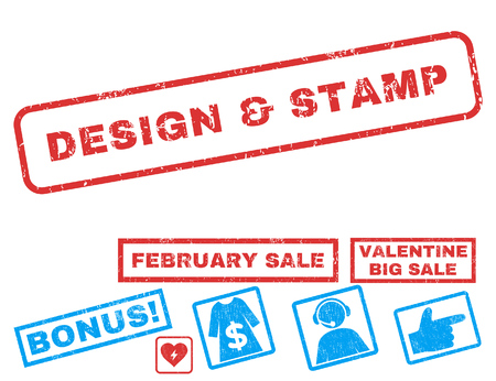 Design & Stamp text rubber seal stamp watermark with Valentines sale bonus. Tags inside rectangular banner with grunge design and unclean texture. Vector signs for trading on a white background.