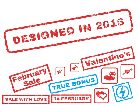 Designed In 2016 text rubber seal stamp watermark with Valentines sale bonus. Captions inside rectangular shape with grunge design and unclean texture.
