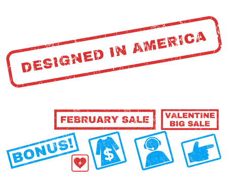 Designed In America text rubber seal stamp watermark with Valentines sale bonus. Tags inside rectangular banner with grunge design and dirty texture. Vector emblems for trading on a white background. Ilustrace