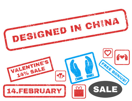 Designed In China text rubber seal stamp watermark with Valentines sale bonus. Captions inside rectangular banner with grunge design and dirty texture.
