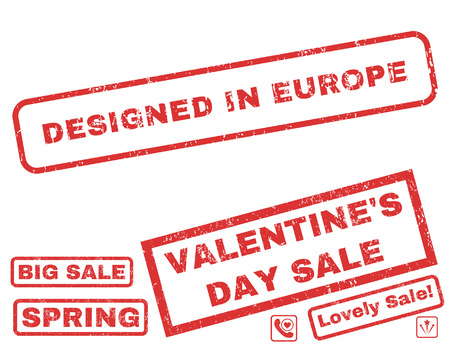 Designed In Europe text rubber seal stamp watermark with Valentines sale bonus. Captions inside rectangular banner with grunge design and unclean texture. Illustration