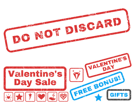 discard: Do Not Discard text rubber seal stamp watermark with Valentines sale bonus. Tags inside rectangular banner with grunge design and unclean texture. Vector signs for trading on a white background. Illustration