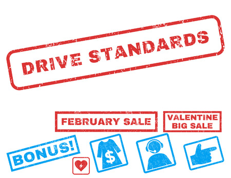 Drive Standards text rubber seal stamp watermark with Valentines sale bonus. Captions inside rectangular banner with grunge design and dust texture. Vector signs for trading on a white background.