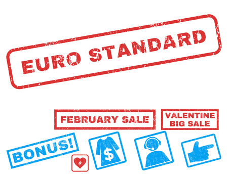 Euro Standard text rubber seal stamp watermark with Valentines sale bonus. Captions inside rectangular banner with grunge design and unclean texture.