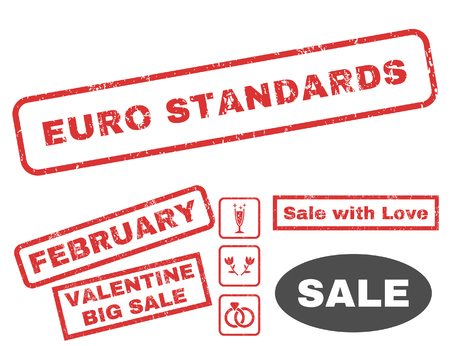 Euro Standards text rubber seal stamp watermark with Valentines sale bonus. Tags inside rectangular banner with grunge design and unclean texture. Vector stickers for trading on a white background. Illustration