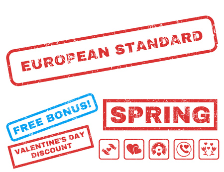 European Standard text rubber seal stamp watermark with Valentines sale bonus. Captions inside rectangular shape with grunge design and dirty texture. Vector signs for trading on a white background.