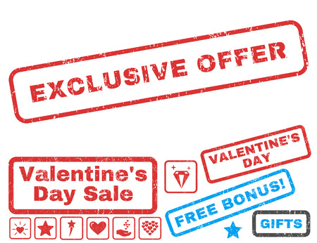 Exclusive Offer text rubber seal stamp watermark with Valentines sale bonus. Captions inside rectangular shape with grunge design and unclean texture.