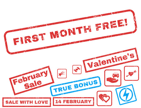 First Month Free! text rubber seal stamp watermark with Valentines sale bonus. Captions inside rectangular shape with grunge design and scratched texture. Illustration