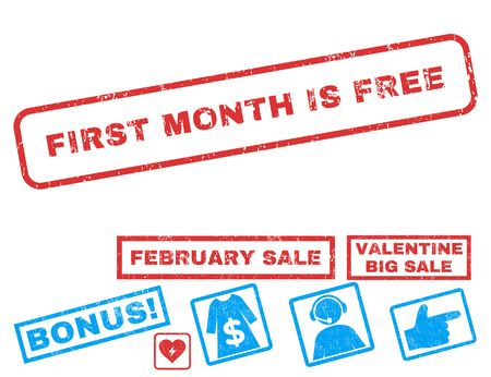 First Month Is Free text rubber seal stamp watermark with Valentines sale bonus. Tags inside rectangular banner with grunge design and scratched texture.