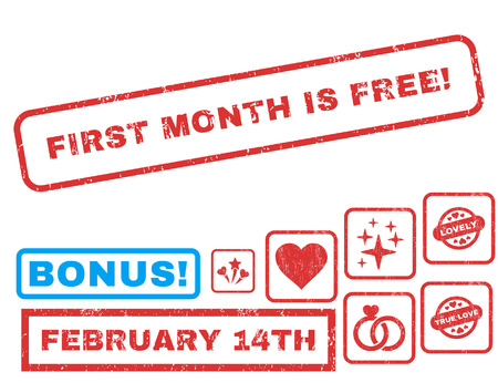 First Month Is Free! text rubber seal stamp watermark with Valentines sale bonus. Tags inside rectangular banner with grunge design and unclean texture.