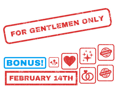For Gentlemen Only text rubber seal stamp watermark with Valentines sale bonus. Captions inside rectangular banner with grunge design and dirty texture.