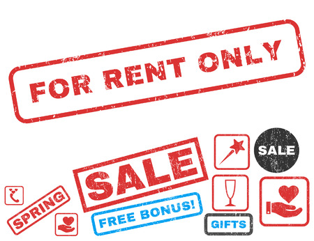 For Rent Only text rubber seal stamp watermark with Valentines sale bonus. Captions inside rectangular banner with grunge design and dust texture. Vector signs for trading on a white background.