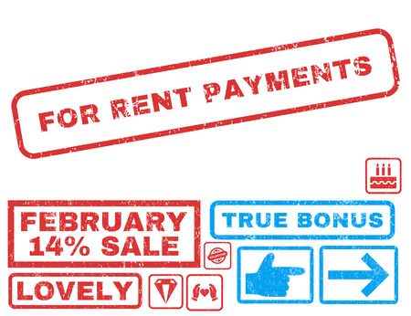For Rent Payments text rubber seal stamp watermark with Valentines sale bonus. Tags inside rectangular shape with grunge design and scratched texture. Vector signs for trading on a white background.