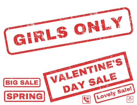 Girls Only text rubber seal stamp watermark with Valentines sale bonus. Captions inside rectangular banner with grunge design and dust texture. Vector signs for trading on a white background.