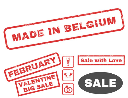 made in belgium: Made In Belgium text rubber seal stamp watermark with Valentines sale bonus. Tags inside rectangular banner with grunge design and dust texture. Vector emblems for trading on a white background.