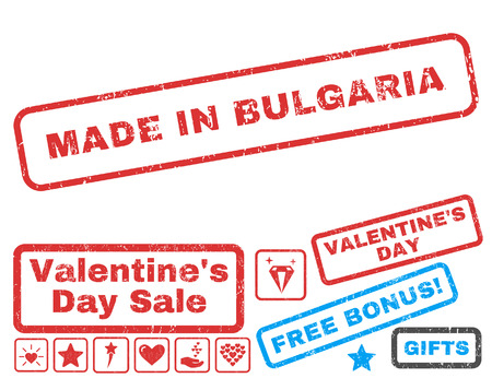 Made In Bulgaria text rubber seal stamp watermark with Valentines sale bonus. Captions inside rectangular shape with grunge design and dirty texture. Vector signs for trading on a white background.