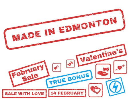 Made In Edmonton text rubber seal stamp watermark with Valentines sale bonus. Tags inside rectangular shape with grunge design and dust texture. Vector emblems for trading on a white background. Illustration