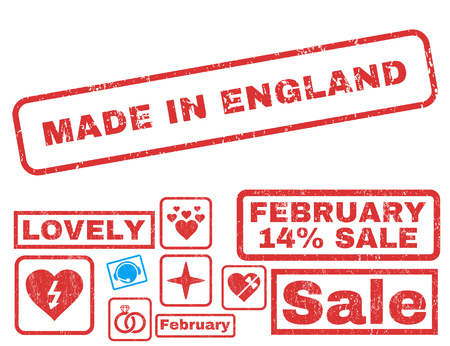 Made In England text rubber seal stamp watermark with Valentines sale bonus. Tags inside rectangular banner with grunge design and dust texture. Vector stickers for trading on a white background. Illustration
