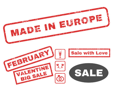 Made In Europe text rubber seal stamp watermark with Valentines sale bonus. Captions inside rectangular shape with grunge design and dust texture. Vector stickers for trading on a white background.