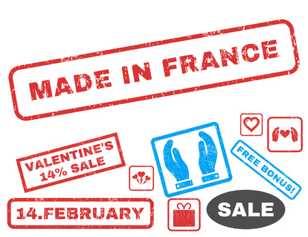 Made In France text rubber seal stamp watermark with Valentines sale bonus. Tags inside rectangular banner with grunge design and scratched texture. Vector stickers for trading on a white background.