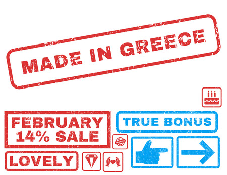 Made In Greece text rubber seal stamp watermark with Valentines sale bonus. Tags inside rectangular shape with grunge design and dust texture. Vector signs for trading on a white background. Illustration