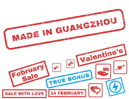 made in china: Made In Guangzhou text rubber seal stamp watermark with Valentines sale bonus. Tags inside rectangular shape with grunge design and dust texture. Vector stickers for trading on a white background.