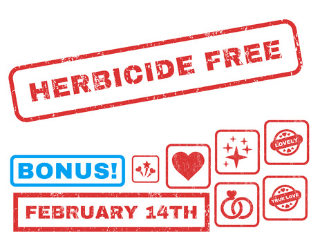 herbicide: Herbicide Free text rubber seal stamp watermark with Valentines sale bonus. Tags inside rectangular shape with grunge design and unclean texture. Vector stickers for trading on a white background.