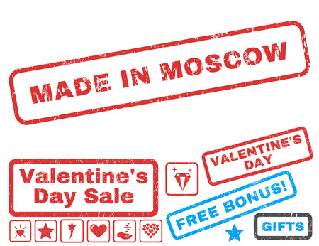 moscovian: Made In Moscow text rubber seal stamp watermark with Valentines sale bonus. Tags inside rectangular banner with grunge design and scratched texture. Vector stickers for trading on a white background.