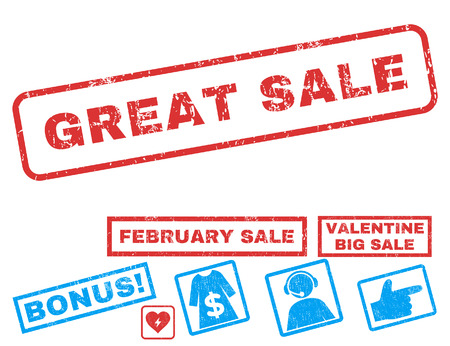 Great Sale text rubber seal stamp watermark with Valentines sale bonus. Captions inside rectangular banner with grunge design and dirty texture. Vector signs for trading on a white background.