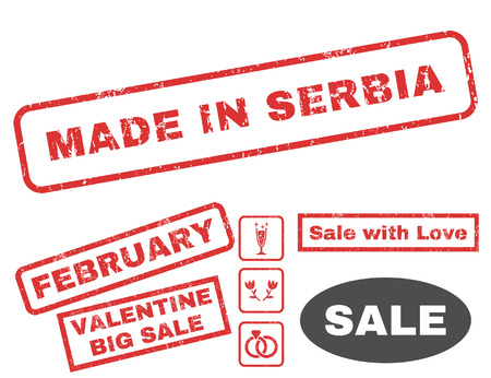 Made In Serbia text rubber seal stamp watermark with Valentines sale bonus. Captions inside rectangular shape with grunge design and scratched texture. Vector signs for trading on a white background.