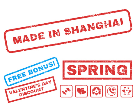 made in china: Made In Shanghai text rubber seal stamp watermark with Valentines sale bonus. Tags inside rectangular banner with grunge design and dust texture. Vector emblems for trading on a white background. Illustration