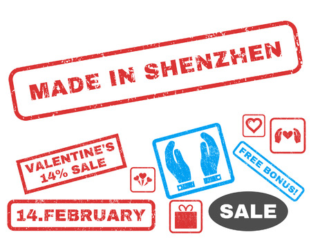 made in china: Made In Shenzhen text rubber seal stamp watermark with Valentines sale bonus. Tags inside rectangular banner with grunge design and unclean texture. Vector emblems for trading on a white background.