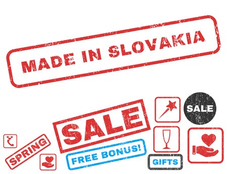 Made In Slovakia text rubber seal stamp watermark with Valentines sale bonus. Tags inside rectangular banner with grunge design and dirty texture. Vector emblems for trading on a white background. Illustration