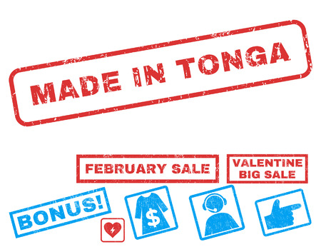 Made In Tonga text rubber seal stamp watermark with Valentines sale bonus. Tags inside rectangular shape with grunge design and scratched texture. Vector stickers for trading on a white background.