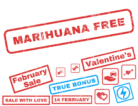 Marihuana Free text rubber seal stamp watermark with Valentines sale bonus. Tags inside rectangular banner with grunge design and scratched texture. Vector emblems for trading on a white background. Illustration