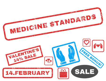 Medicine Standards text rubber seal stamp watermark with Valentines sale bonus. Tags inside rectangular shape with grunge design and dust texture. Vector stickers for trading on a white background.