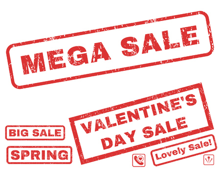mega sale: Mega Sale text rubber seal stamp watermark with Valentines sale bonus. Tags inside rectangular shape with grunge design and dust texture. Vector signs for trading on a white background.