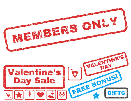 Members Only text rubber seal stamp watermark with Valentines sale bonus. Captions inside rectangular shape with grunge design and dirty texture. Vector signs for trading on a white background.