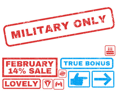 military draft: Military Only text rubber seal stamp watermark with Valentines sale bonus. Captions inside rectangular shape with grunge design and dust texture. Vector emblems for trading on a white background.