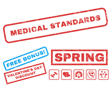 Medical Standards text rubber seal stamp watermark with Valentines sale bonus. Tags inside rectangular banner with grunge design and dirty texture. Vector stickers for trading on a white background.