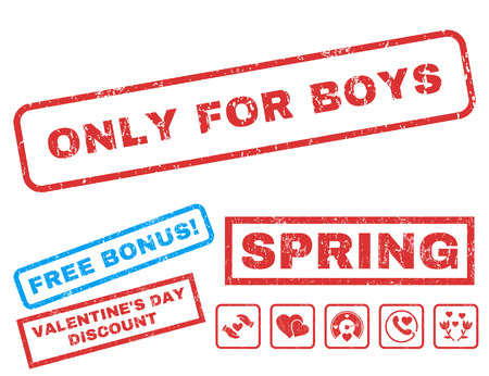 Only For Boys text rubber seal stamp watermark with Valentines sale bonus. Captions inside rectangular banner with grunge design and dirty texture. Vector signs for trading on a white background.
