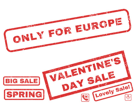 Only For Europe text rubber seal stamp watermark with Valentines sale bonus. Tags inside rectangular banner with grunge design and unclean texture. Vector emblems for trading on a white background.