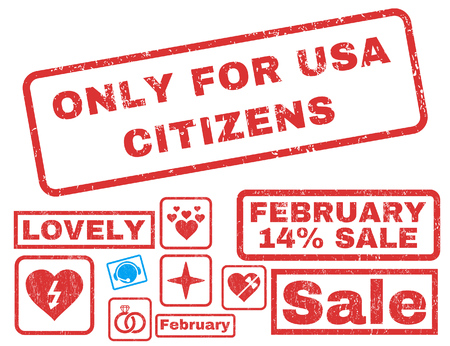 Only For USA Citizens text rubber seal stamp watermark with Valentines sale bonus. Captions inside rectangular shape with grunge design and dust texture.