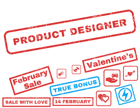 Product Designer text rubber seal stamp watermark with Valentines sale bonus. Captions inside rectangular banner with grunge design and scratched texture.