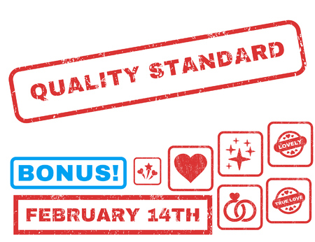 Quality Standard text rubber seal stamp watermark with Valentines sale bonus. Captions inside rectangular banner with grunge design and unclean texture.