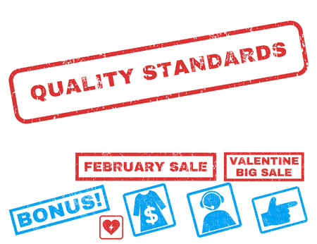 Quality Standards text rubber seal stamp watermark with Valentines sale bonus. Tags inside rectangular shape with grunge design and dust texture. Vector emblems for trading on a white background.