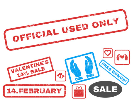 Official Used Only text rubber seal stamp watermark with Valentines sale bonus. Captions inside rectangular banner with grunge design and dust texture.
